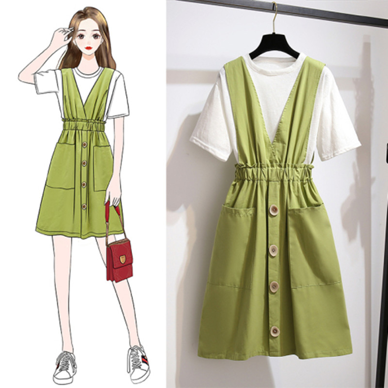 Summer Women Single-breasted Double Pocket Suspender Skirt Ruched  Ruffles Skirt Two piece Set White Tshirt A-line Solid Dress