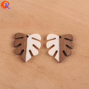 Image 4 - Cordial Design 30Pcs 28*30MM Jewelry Accessories/DIY Earrings Making/Leaf Shape/Natural Wood & Resin/Hand Made/Earring Findings