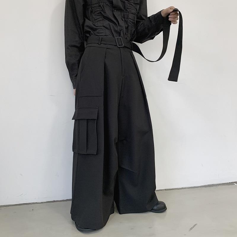 Men Japan Loose Casual Wide Leg Cargo Pants Male Streetwear Hip Hop Punk Gothic Harem Belt Trousers Kimono Straight Skirt Pants