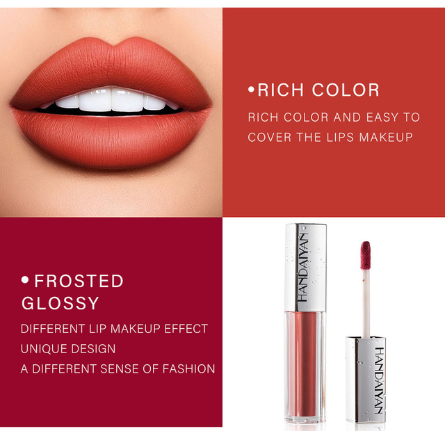 Brillo de labios líquido mate, brillo de labios líquido mate de larga duración, resistente al agua, cosmético de belleza, mantiene 24 horas de maquillaje, brillo de labios maquillaje TSLM1 3