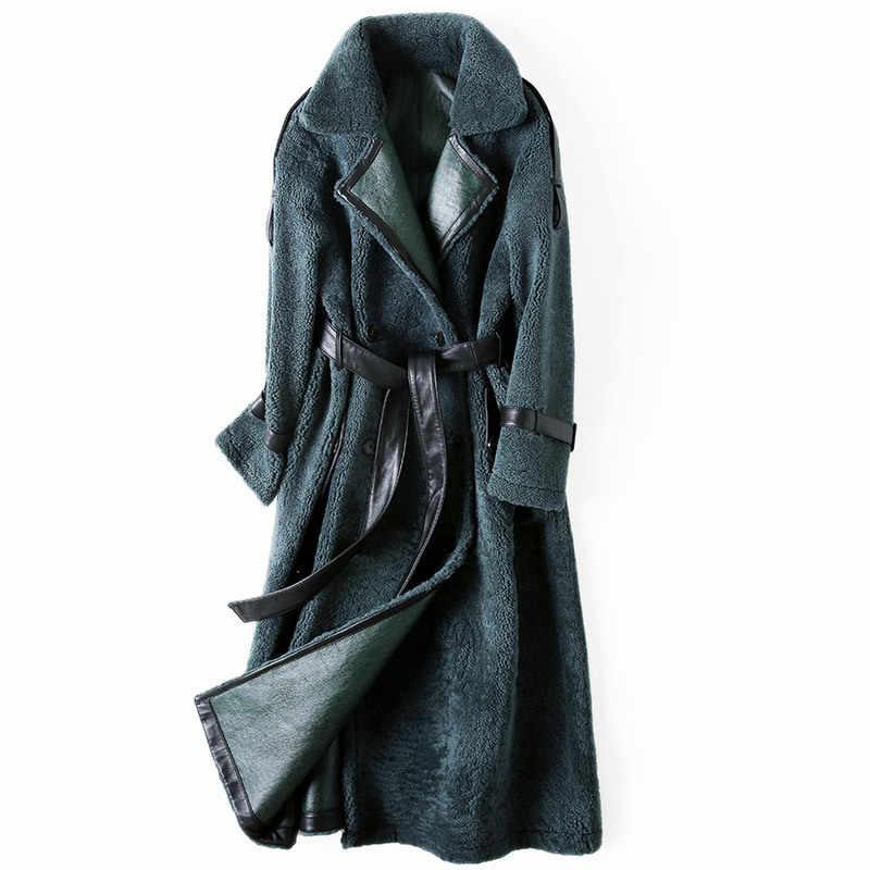 Mantel Wanita Nyata Bulu Musim Dingin Panjang Domba Bulu Domba Asli Jaket Kulit Manteau Femme Hiver 2020 E22-C28 KJ4974