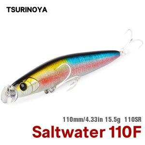 Tsurinoya água salgada flutuante minnow isca de pesca caçador 110sr dw81 110mm 15.5g rasa gama lápis isca de baixo mar pique jerkbait