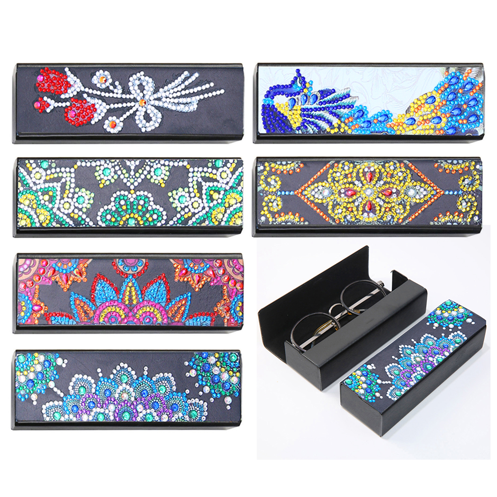 Glasses Box DIY Diamond Painting Sunglasses Case Portable Leather Glasses Storage Box Eyeglasses Box Diamond Embroidery Craft