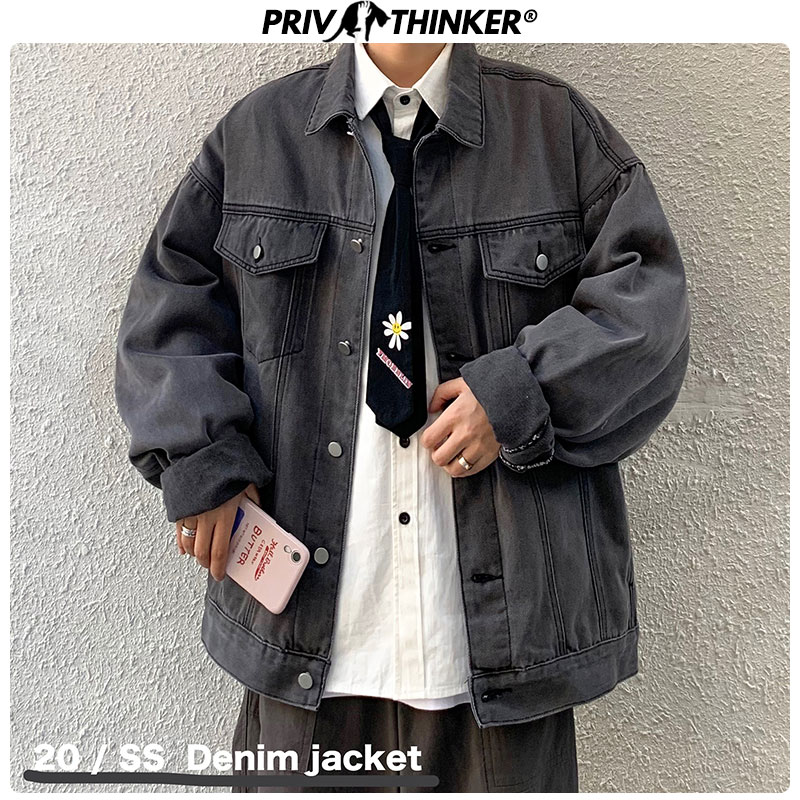 Privathinker Korean Men's Solid Denim Jackets 2020 Couple Hip Hop Fashion Oversized Jacket Clothes Spring Male Denim Coats