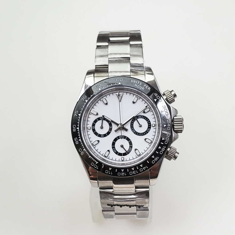 Chronograph Quartz Watch Fashion 39mm Sapphire Glass Silver Case 316L Stainless Steel Bracelet A2
