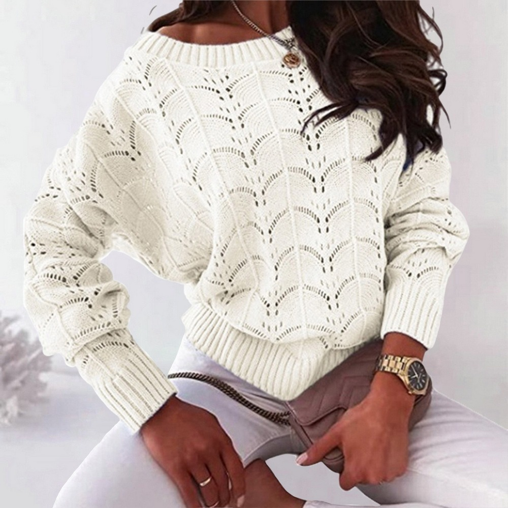 Pull à manches longues et col rond pour femme