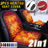 2Pcs In 1 Fast Heated & Adjustable Black/Grey/Blue/Red Car Electric Heated Seat Car Styling Winter Pad Cushions Auto Covers