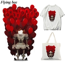 Flyingbee Clown DIY Heat Transfer Patches Clothes Stickers T-shirt Decoration Patches Heat Press Appliques X0658 pikachu patch iron on transfer pokemon patches for clothes diy shirt applique heat transfer vinyl stickers appliques on clothes