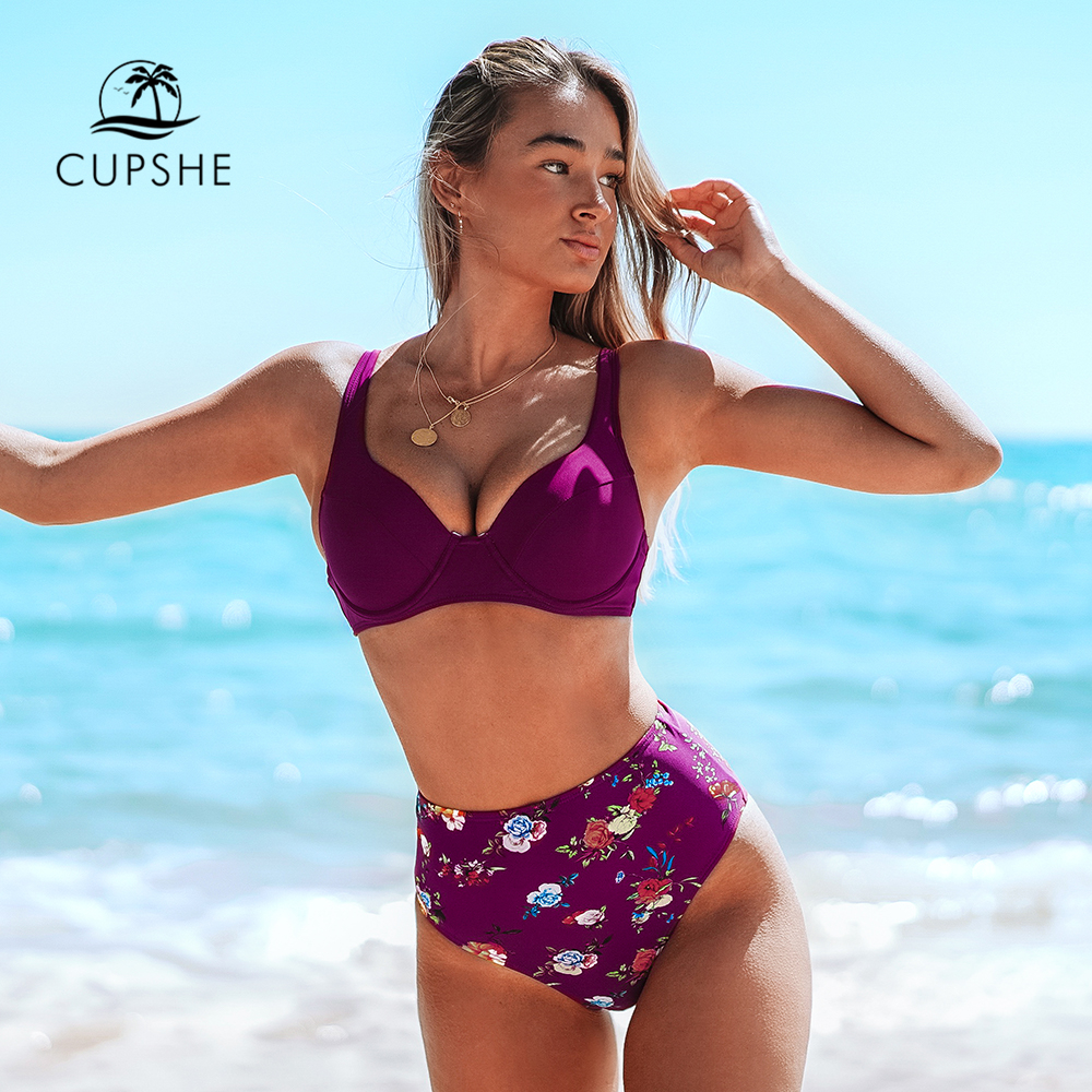CUPSHE Burgundy Floral High-Waisted Bikini Sets Sexy Push Up Swimsuit Two Pieces Swimwear Women 2019 Beach Bathing Suits