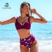 Cupshe Bourgondië Bloemen Hoge Taille Bikini Sets Sexy Push Up Badpak Twee Stukken Badmode Vrouwen 2020 Strand Badpakken