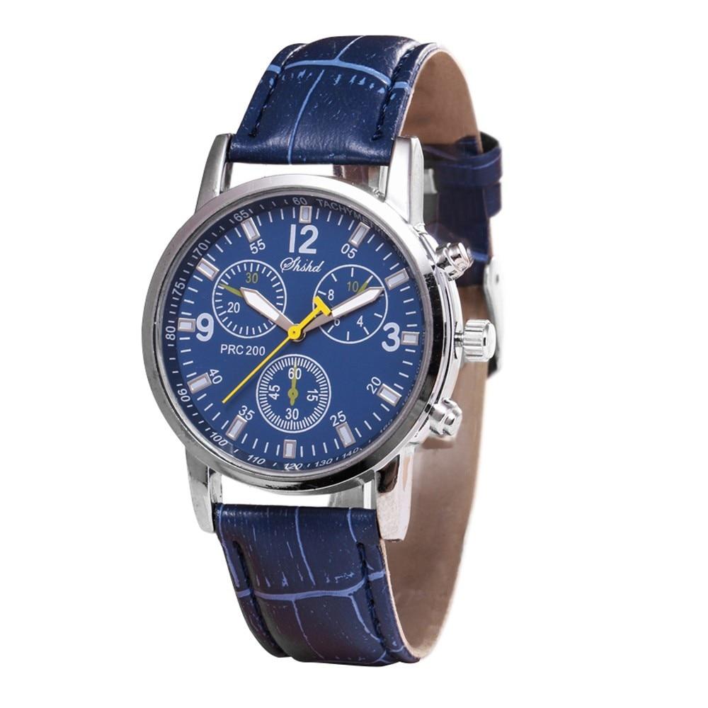 Casual Men Watch Relogios Masculino Blue-ray Glass Neutral Quartz Simulates Wrist Epidermal Leather Strap Wristwatch