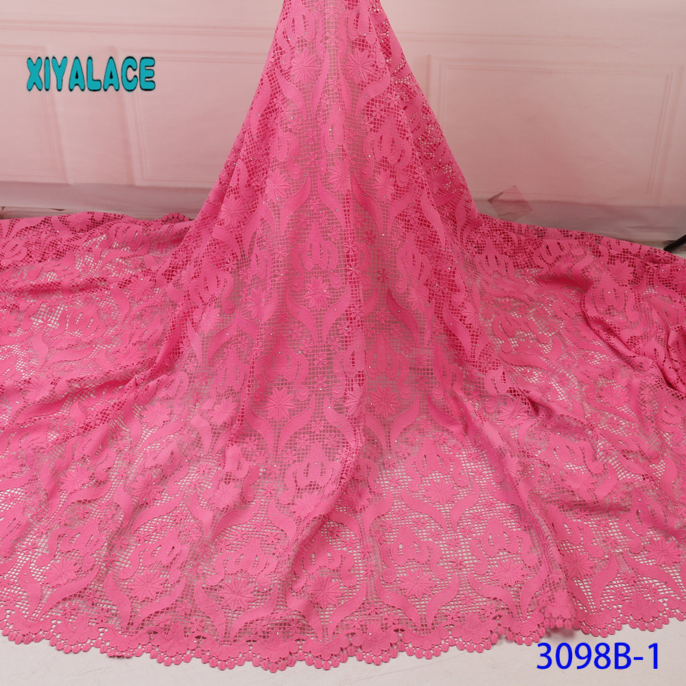 High Quality Cotton Lace Fabric 2019 Latest Design Swiss Voile With Stone In Switzerland For Party Dress YA3098B-1