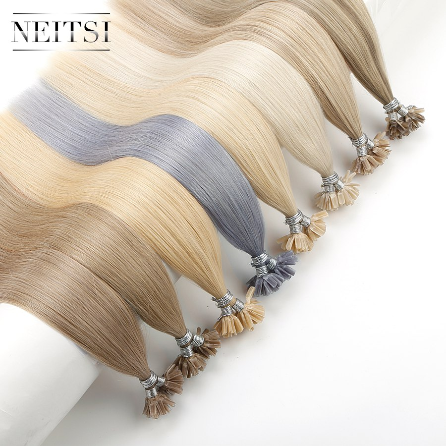 """Neitsi Double Drawn Straight Remy Human Fusion Hair Nail U Tip Pre Bonded Capsules Hair Extensions 16"""" 20"""" 24"""" 28"""" 25/150/200pcs"""