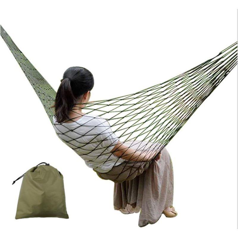 Hanging Hammock Hot Portable Garden Nylon Hammock Sewing Chair Hanging Mesh Net Single Sleeping Bed T8WE