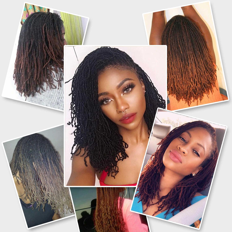 Dreadlocks cabelo crochê tranças macio pavor afro penteado ombre sintético faux locs ombre trança extensões de cabelo