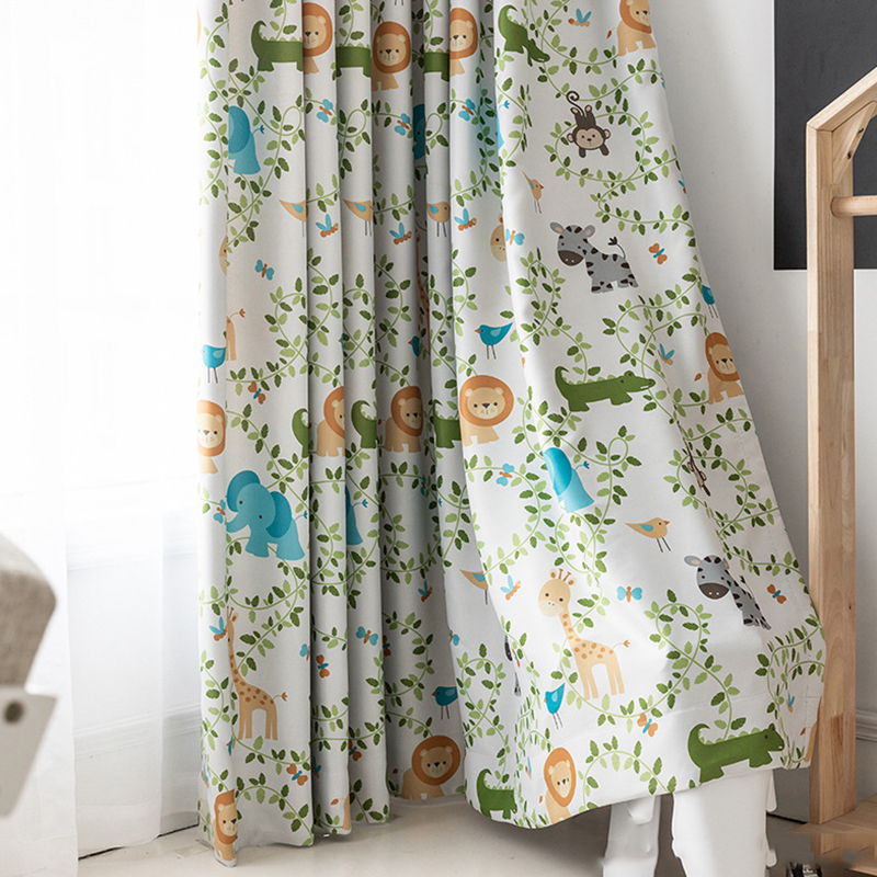 Customizable Simple Modern Children Curtains Nordic Lovely Cartoon Animals Curtains for Living Dining Room Bedroom JK242Z