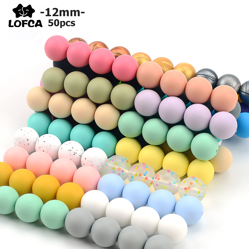 LOFCA  12mm 50pcs/lot Silicone Beads Teething Necklace Baby Teether Toy Silicone BPA Free Teething Beads Charms Newborn Nursing