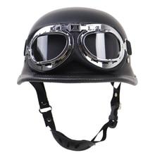 1PC אופנוע רטרו חצי קסדה חיצוני רכיבה מגן קסדת עם משקפיים גודל S XXL, מאט שחור או בהיר שחור