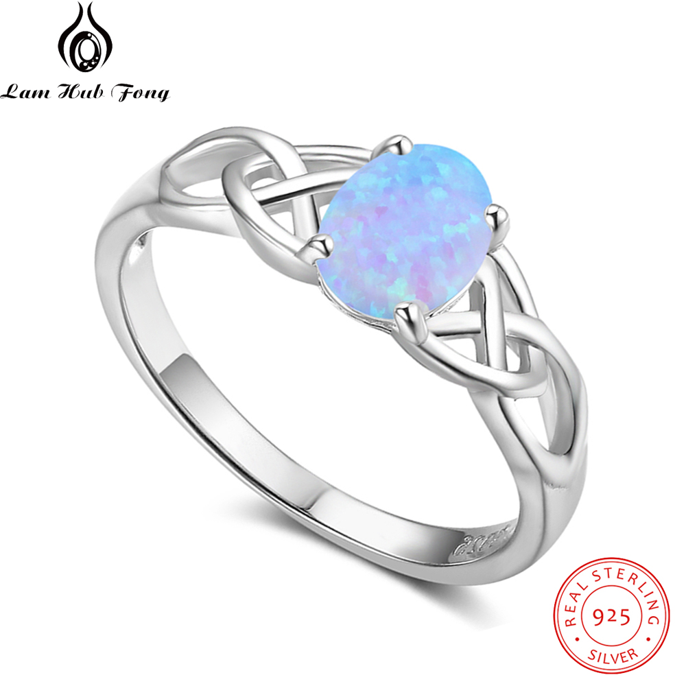 925 Sterling Silver Oval Blue Opal Ring Vintage Braided Ring Wedding Engagement Rings for Women Fine Jewelry (Lam Hub Fong)