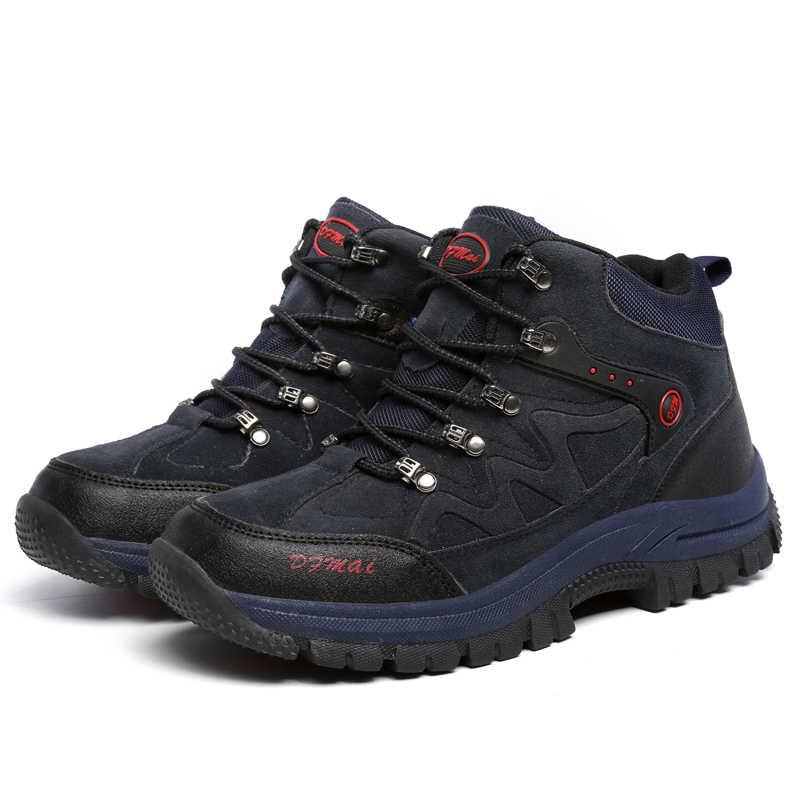 Botas de invierno 2019 de piel de alta calidad para hombre, botas de nieve cálidas, zapatillas antideslizantes impermeables, calzado ligero a la moda, talla grande 48