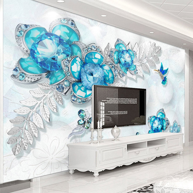 Custom Mural Wallpaper Blue Jewelry Flower Butterfly 3D Living Room Sofa TV Background Photo Wall Painting Wallpapers Home Decor
