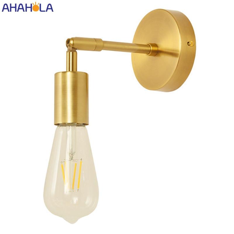 Lámparas Led E27 doradas de 110V y 220V para pared de salón, luces Led de pared Vintage para Loft Industrial, escaleras
