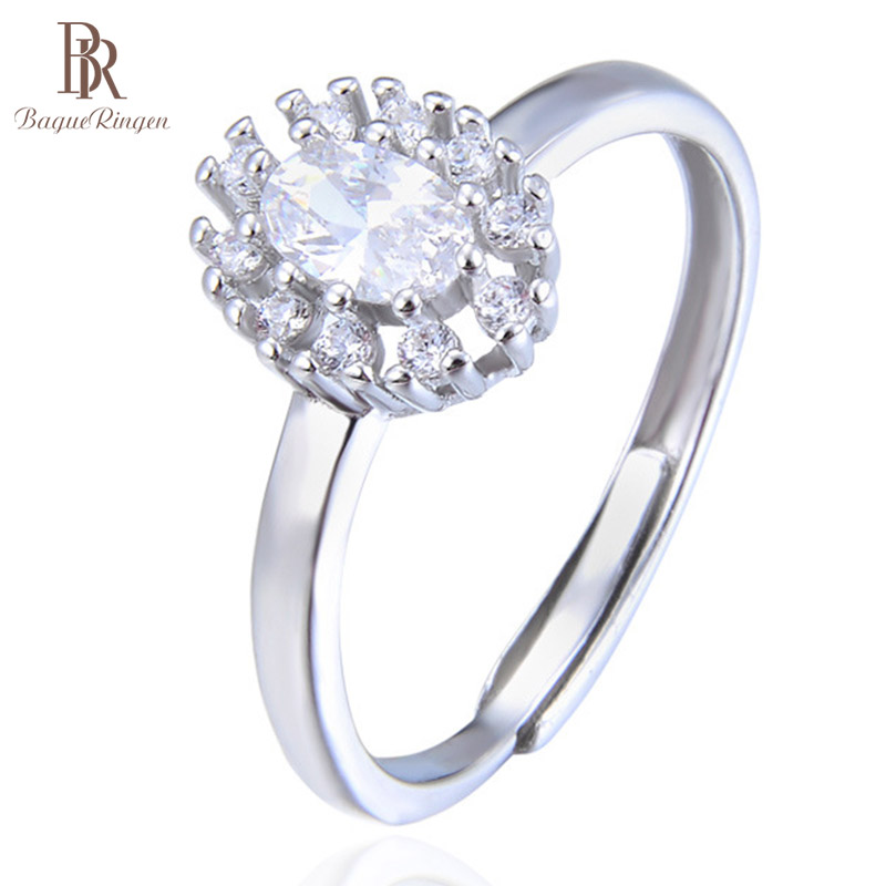 Bague Ringen 100% Real Silver Top Qualtiy Zircon Ring  Women Luxurious Opening Adjustable Rings Women Party Wedding Fine Jewerly