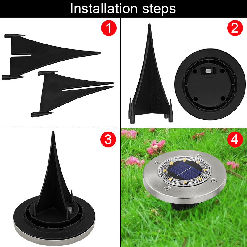 Round Shaped In Ground Solar Outdoor light with 8 LED and Infrared Light Sensor for Garden Pathway 5