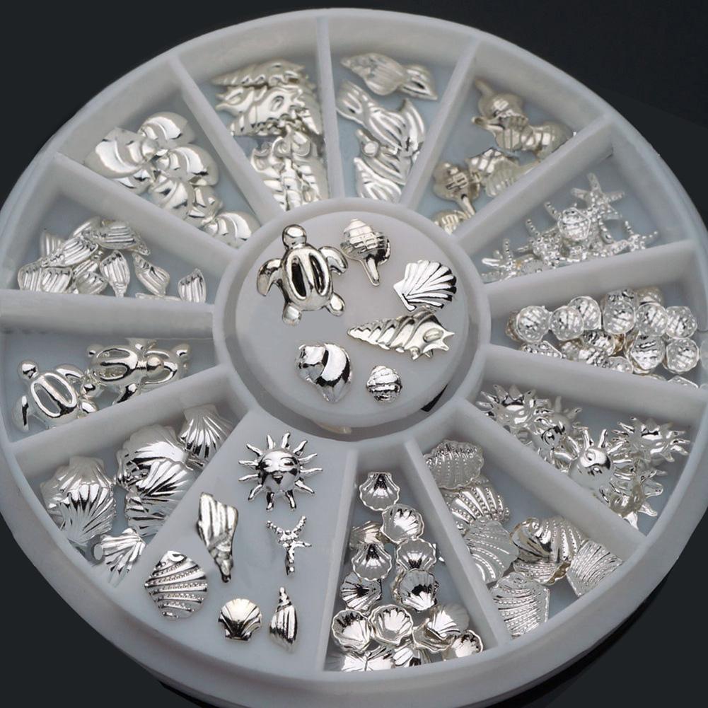 120 Pcs Women Nail Art Decoration Mini Ocean Accessories Silver Shell Conch Metal Silver Rivet Star Shell Jewelry Storage Tray