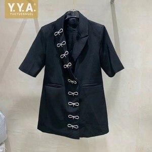 Concepteur diamants nœud papillon coupe ajustée costume veste bureau dames élégant à manches courtes Blazers femme été noir blanc Long Blazer