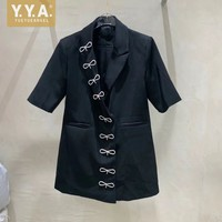 Designer Diamonds Bowknot Slim Fit Suit Jacket Office Ladies Elegant Short Sleeve Blazers Female Summer Black White Long Blazer