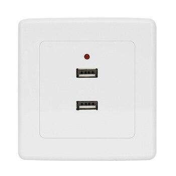 цена на KEKA Dual USB Wall Socket Charger AC/DC Power Adapter Plug Outlet Plate Panel 220V To 5V White Safe 2 Ports Electrical Sockets