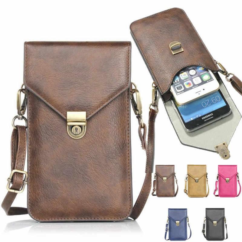 Evrensel PU deri Retro telefon çanta Iphone Samsung Huawei Xiaomi Redmi Oneplus LG taşınabilir kılıfı boyun askısı cüzdan Coque
