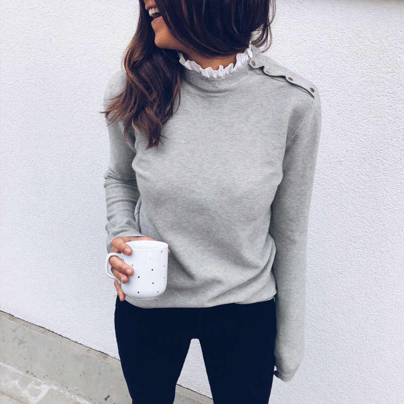 2019 Autumn Fashion Solid Blouse Women Knitted Top Lace High Neck Button Long Sleeve Pullover female Pullover Ladies Tops Tunics