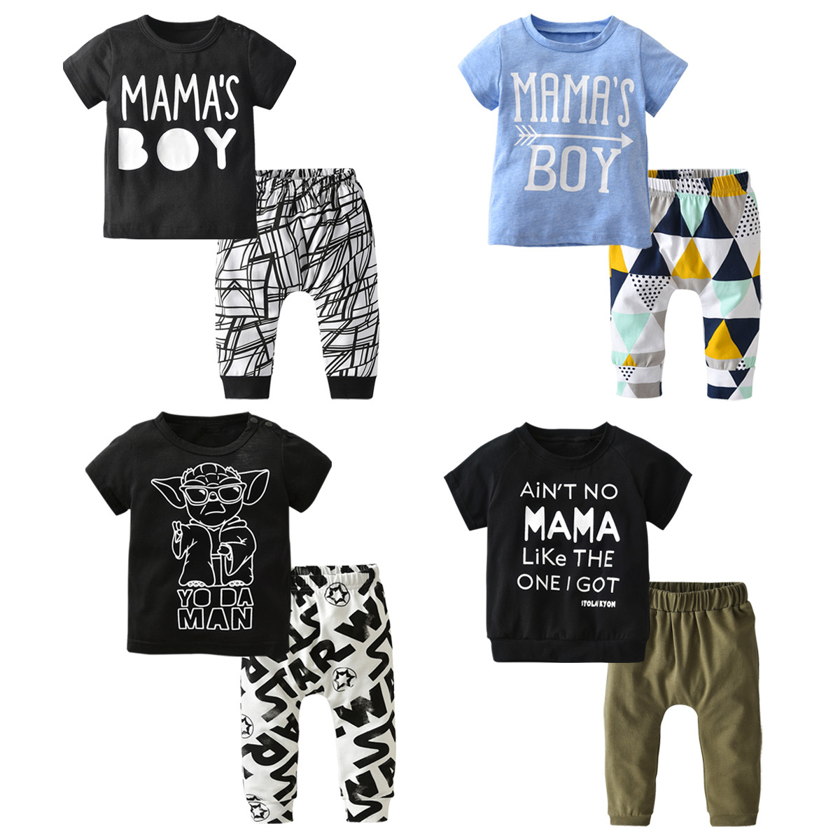 Conjunto de ropa para bebé recién nacido, camiseta de manga corta con estampado de letras de algodón y pantalones informales, trajes para niño pequeño