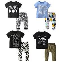 Yaz yenidoğan bebek erkek bebek giysileri Set pamuk mektup baskı kısa kollu tişört ve rahat pantolon bebek kıyafetleri kıyafetler