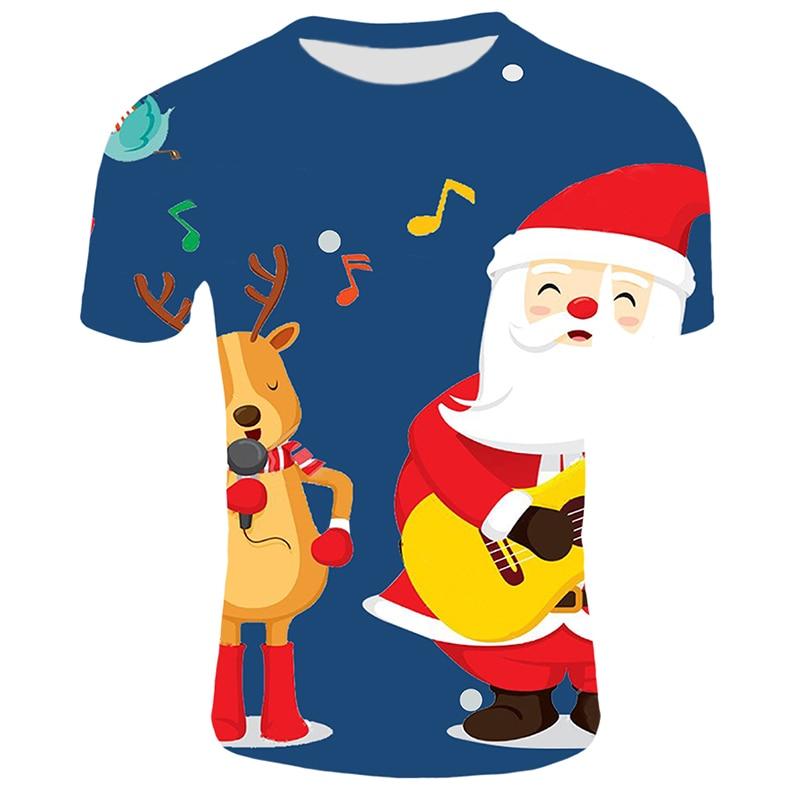 Модные футболки с рождественским узором, мужские Забавные футболки с принтом Санта-Клауса, повседневные 3d футболки, вечерние футболки со снеговиком, одежда с коротким рукавом - Цвет: T26
