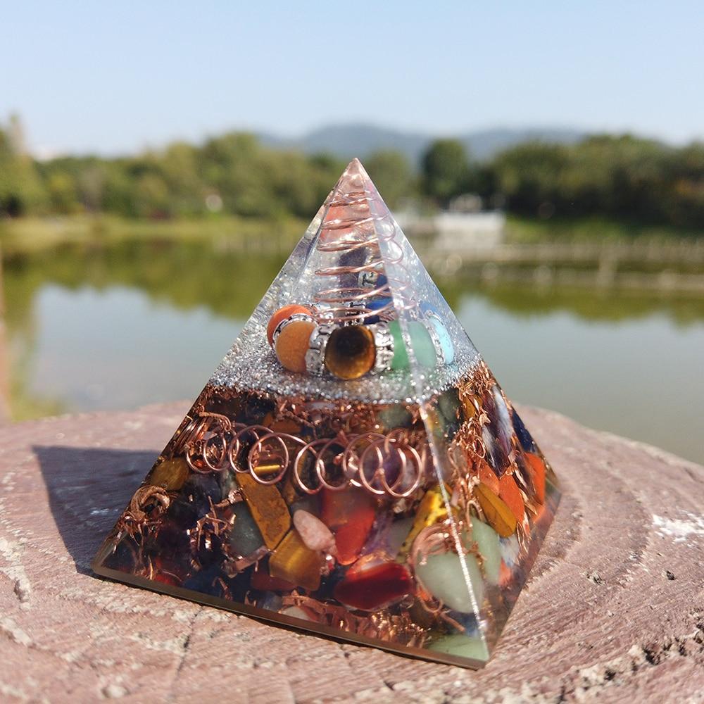 5 см Orgonite Пирамида кристалл натуральный камень целительная Рейки Чакра Сфера энергии мультипликатор драгоценный камень для медитации, укра...