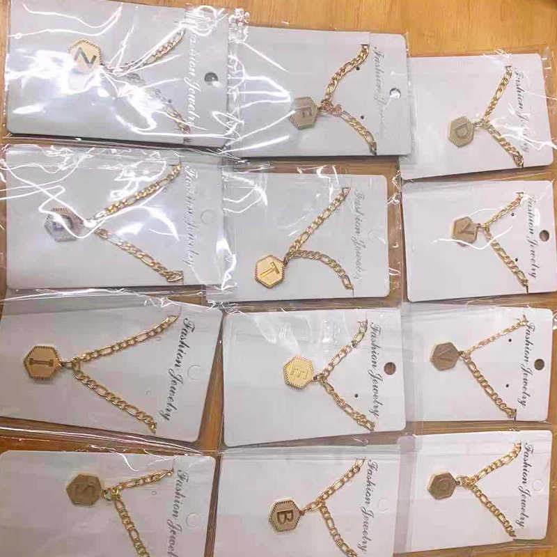 Qitian A-Z Letters Necklaces Pendant stainless steel Jewelry  Not fade for Women Men English Initial Alphabet Chain Jewelry Gift
