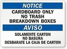 Aviso de papelão somente nenhuns sinais e etiquetas adesivas de aviso das caixas da divisão do lixo