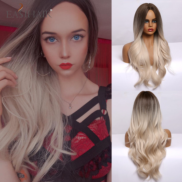 EASIHAIR Ombre Brown Light Blonde Platinum Long Wavy Middle Part Hair Wig Cosplay Natural Heat Resistant Synthetic Wig for Women