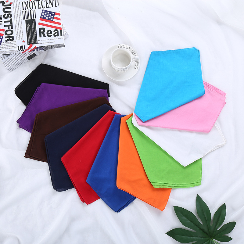 Headscarf Cotton Solid Color Red White Kerchief Lady Wild Hair Band Hip Hop Street Scarf Women Neckerchief Square Bandanas