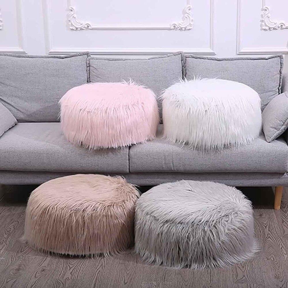 Plush Sofa Stool Futon Mat Inflatable Portable Round Footstool European Style (29)
