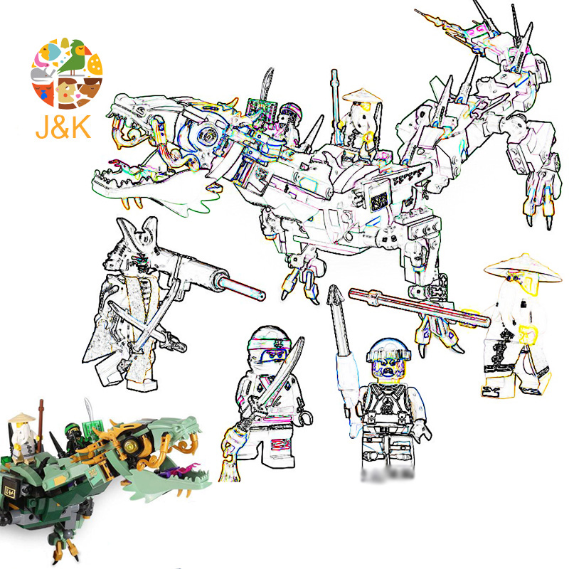 <font><b>70612</b></font> 592pcs Ninja Series The Green flying mecha dragon Model Building Blocks Brick Educational Toys For Children 10718 Gift image