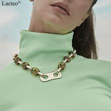 Lacteo Sexy Geometric Irregular Metal Sheet Choker Necklaces for Women Statement Leopard Color Acrylic Clavicle Chain Necklace