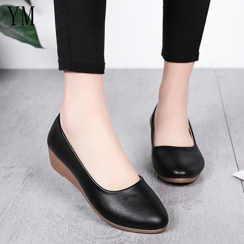 Lady Flats Fashion Wedge Heels Women Genuine Leather Shoes Moccasins Woman Shoes Round Toe Casual Slip On Nurse Women Loafers image