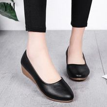 Lady Flats Fashion Wedge Heels Women Genuine Leather
