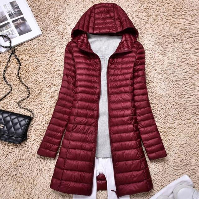 SEDUTMO Winter Duck Down Jackets Women Ultra Light Long Down Coat Spring Hoodie Puffer Jacket Slim Parkas ED876 4