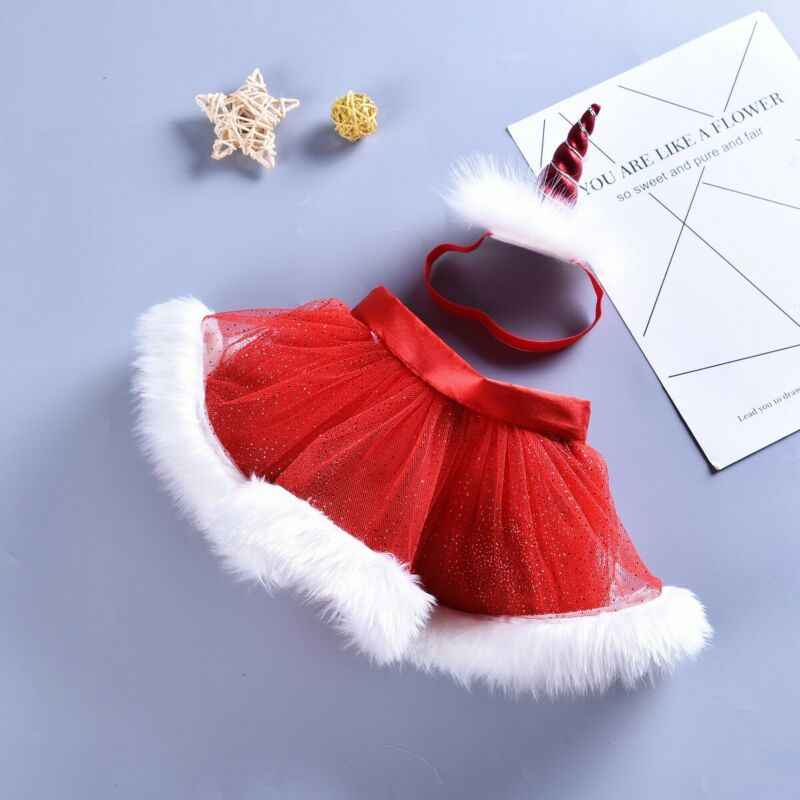 Photo Shot Skirts Infant Christmas Red CUTE Tutu Tulle Skirt Halloween Party Unicorn Baby Headband