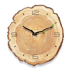 Living Room Decoration Wood Grain Quartz Modern Durable Mute Running Battery Operated Practical Wall Clock Simple Annual Ring